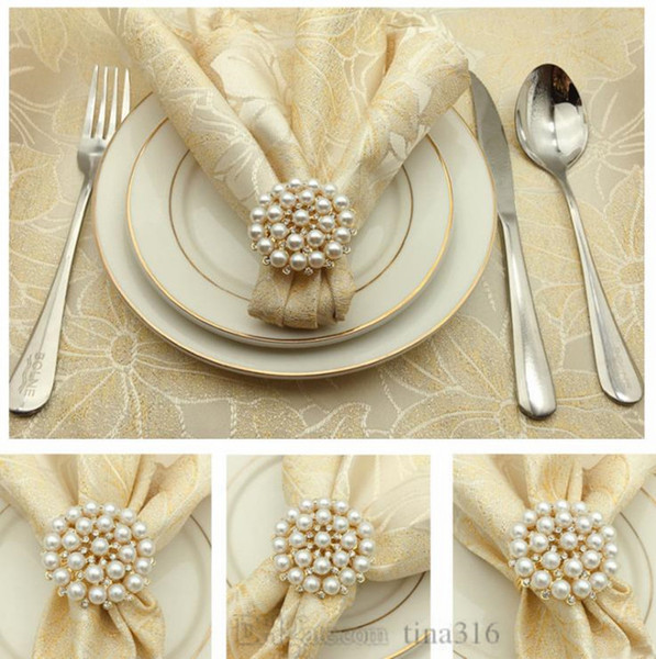 Fashion pearl napkin buckle Alloy deer napkin ring Newest Gold-plated apple-shaped napkin ring T9I004