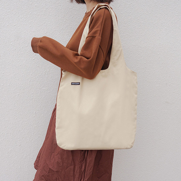 2019 New Women Tote Bags Shopping Handbag Ladies Casual Shoulder Bag Female Cotton Cloth Handbag Foldable Beach Shopper Bag B24