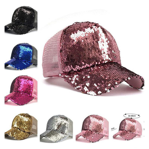 Fashion Mermaid Sequins Baseball Hats Summer Curved visor Messy Glitter Ponytail Snapback Cap for men women trendy Hip Hop hat