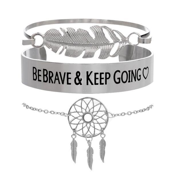 Conjuntos de pulseiras Vintage Big Metal Feather Bracelets concise Letters BEBRAVE KEEP GPING Bangles Jewelry Gift Dreamcatcher Bracelet Set