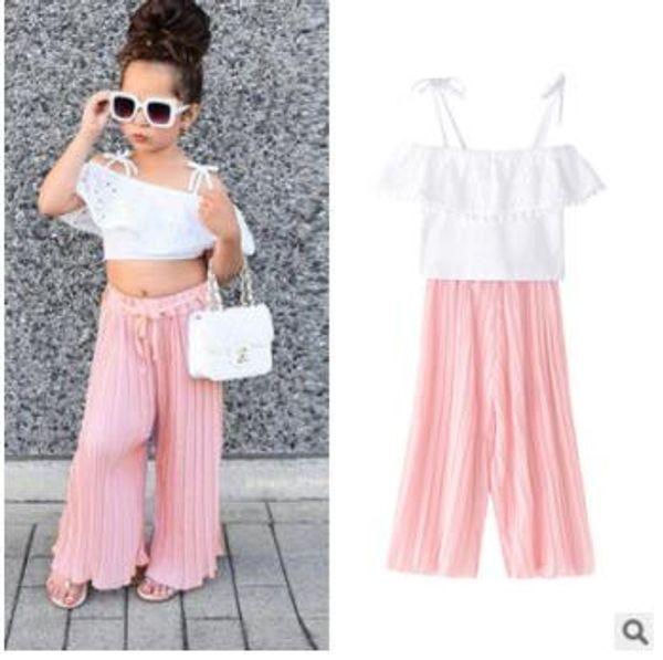 Baby Mädchen Sets Kinder Sommer Mode Weiß Spitze Sling Top + Rosa Falten Flare Pants 2 stücke Set Kinderkleidung