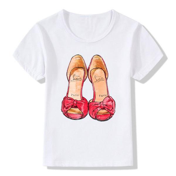 2019 t-shirt branca nova impressão vermelha meninas camiseta manga curta o pescoço verão encabeça crianças casual crianças
