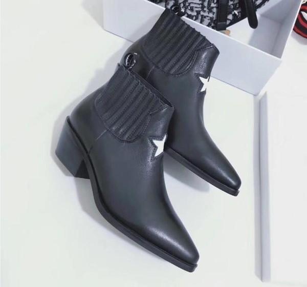 Moda deri yıldız bayan ayakkabı kadın deri kısa sonbahar kış ayak bileği tasarımcı moda marka kadın ayakkabıları 35-40 mh01