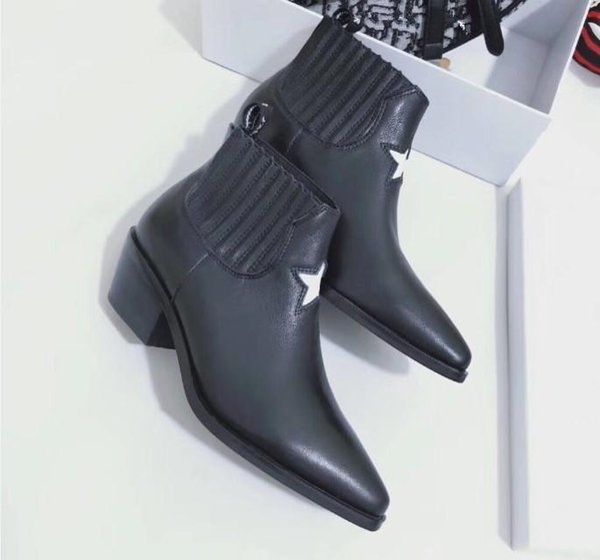 Mode Leder Stern Frauenschuhe Frau Leder kurz Herbst Winter Knöchel Designer Modemarke Frauen Schuhe 35-40 MH01