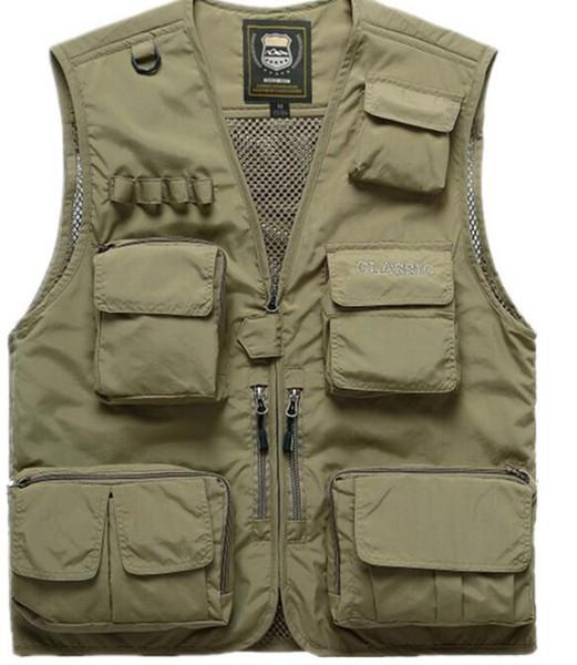 Men's Summer Fishing Hunting Outdoor Climbing Trekking Vest Male Sleeveless Multi-Pocket Quick-dry Mesh Photography Waistcoat
