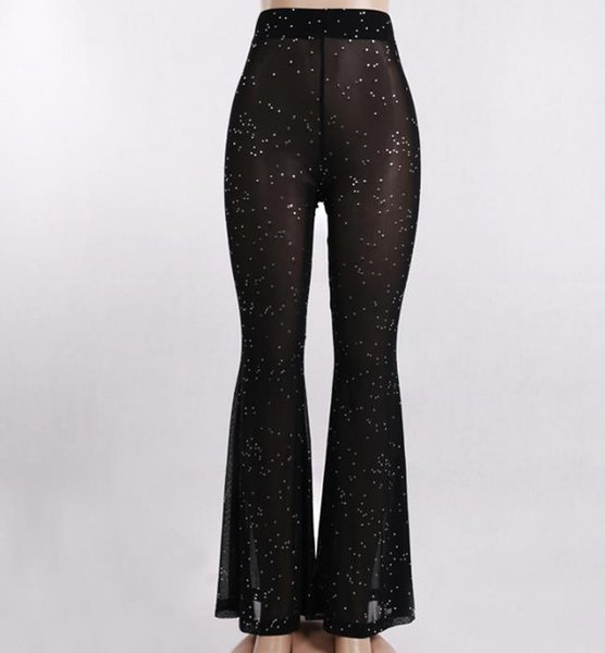 Pantalón de diseñador para mujer Street Casual Light Mesh with Highlights Pantalones 2019 Luxury Summer Wide Leg Pant Mujer Nueva llegada