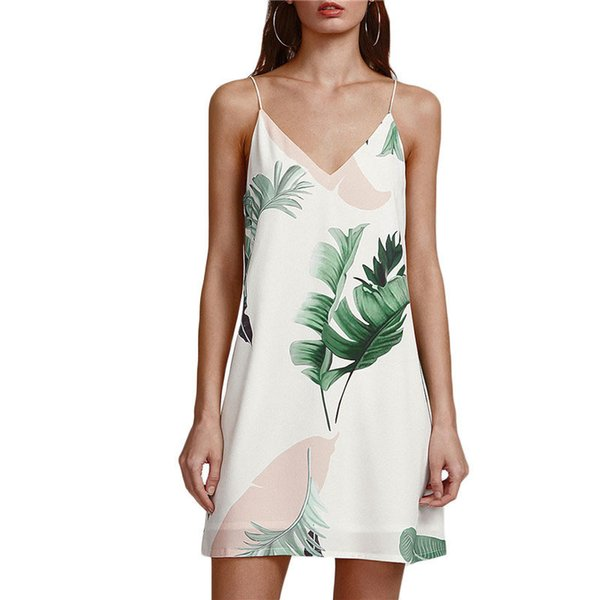 White Beach Cami Summer Dress Mujeres Palm Print Doble cuello en V Casual Shift Dresses Sexy sin mangas Vacation Dress