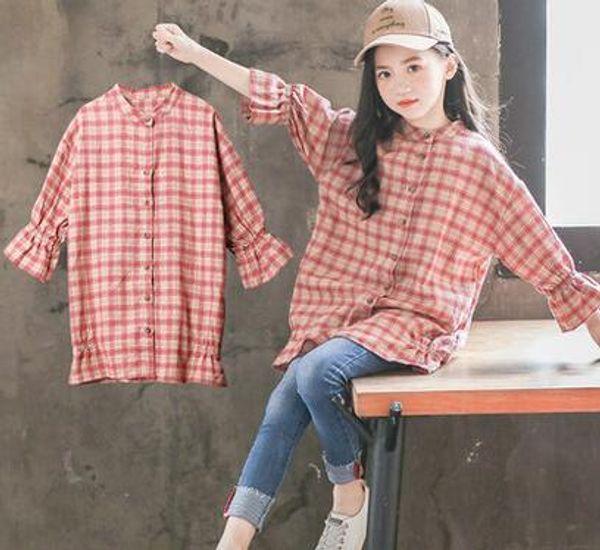 2019 Nuevo estilo de primavera y otoño moda Niños grandes Red flor celosía Camiseta Cardigan Mangas largas para estudiantes ropa de niña El vestido