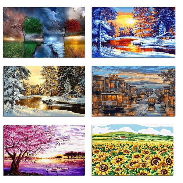 best selling Frameless Digital painting diy Oil Painting By Numbers tree landscape Modern wall art canvas pictures hanging For Living Room home decor