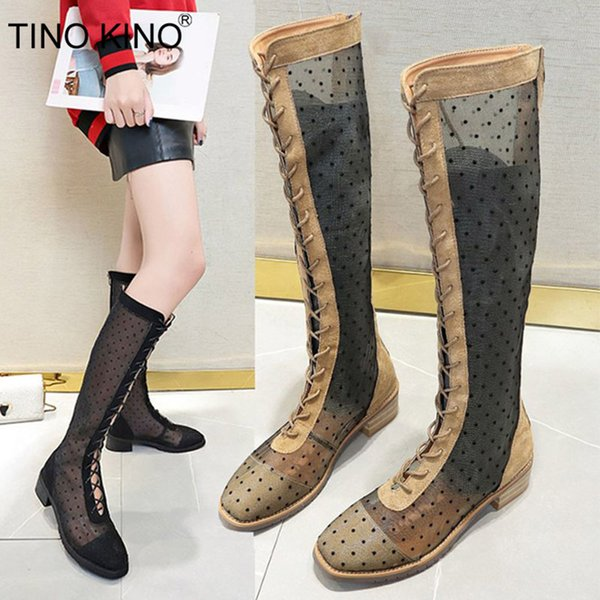 TINO KINO Women Mesh Autumn Knee High Boots Polka Dot Square Toe Lace Up Low Heels Ladies Thigh High Fashion New Casual Shoes