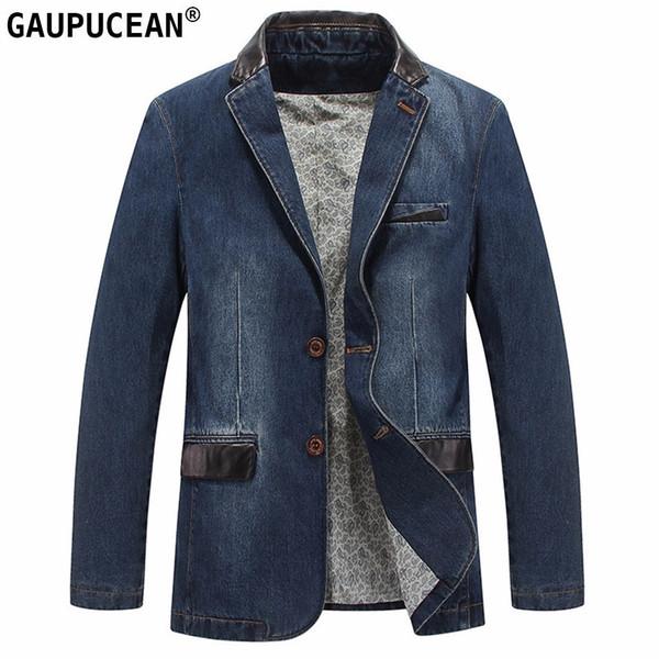 Erkekler Denim Takım Elbise Ceket 100% Pamuk Tek Göğüslü Cepler Mavi Rahat Sokak Bahar Sonbahar Erkek Giyim Ince Adam Kovboy Blazer T2190605