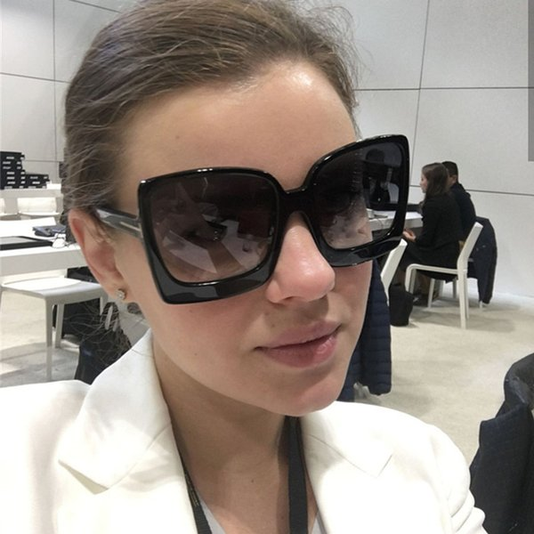 top popular Square Sunglasses 2019 New Style Sun Glasses Design Women Big Frame Eyewear For Outdoor Shades Goggles Oculos 2021