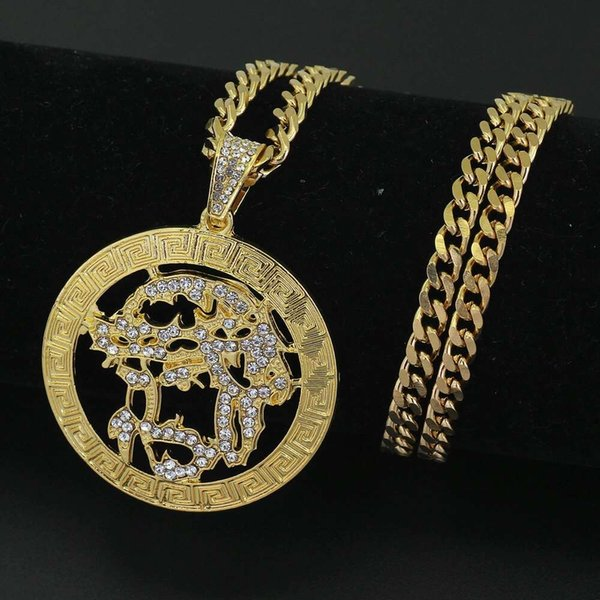 hip hop Jesus diamonds round pendant necklaces for men Religious luxury necklace Stainless steel Cuban chain Christian jewelry