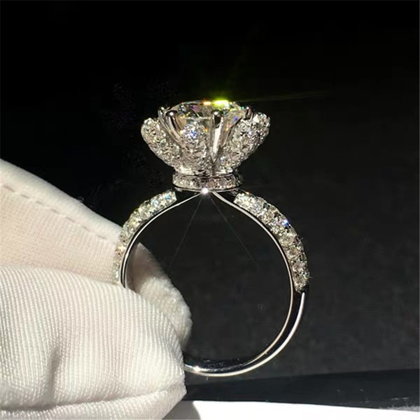 Victoria Wieck Gioielli Luxury Real 925 Sterling Silver taglio rotondo anello della fascia Regalo Diamante CZ diamante oro rosa del fiore delle donne di nozze
