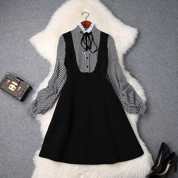2019 Spring Luxury Long Sleeve Crew Neck Plaid Print Ribbon Tie-Bow Knee-Length Dress Fashion Casual Dresses LD15T9393