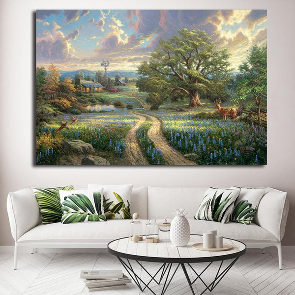 Country Living Thomas Kinkade Cottages Tree Canvas Painting Oil Print Poster Wall Art HD Picture for Living Room Home Decor