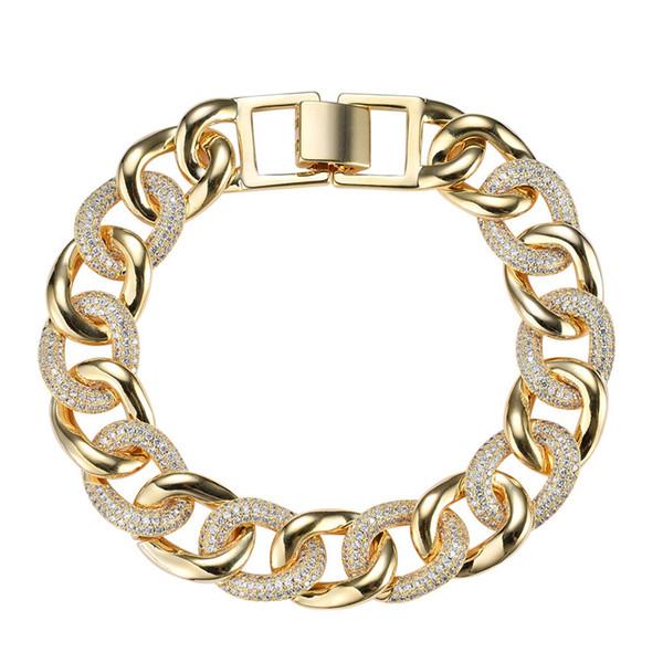Braccialetto cubico del rame CZ dei monili degli uomini del braccialetto a catena di ottone 7.5inch dell'hipco di 7.5mm ghiacciato fuori