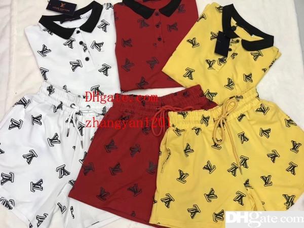 2019 Sommer Frauen zweiteilige Outfits Casual Fashion Trainingsanzug Revers Brief drucken T-Shirt + lose Gummiband Shorts Hosen Frauen Kleidung LG-3