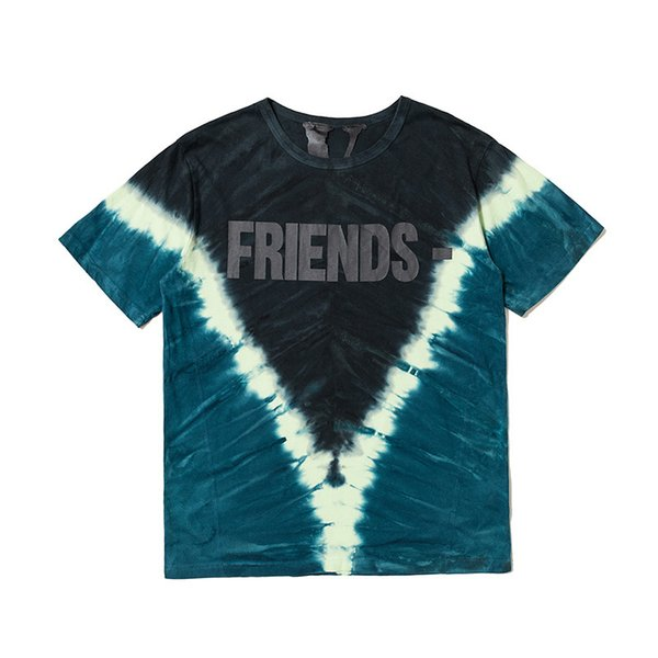 Vlone Mens Designer T Shirt Vlone Houston Pop Up Friends Tie Die Uomo Donna T Shirt T Shirt di alta qualità Tees Taglia S-XL