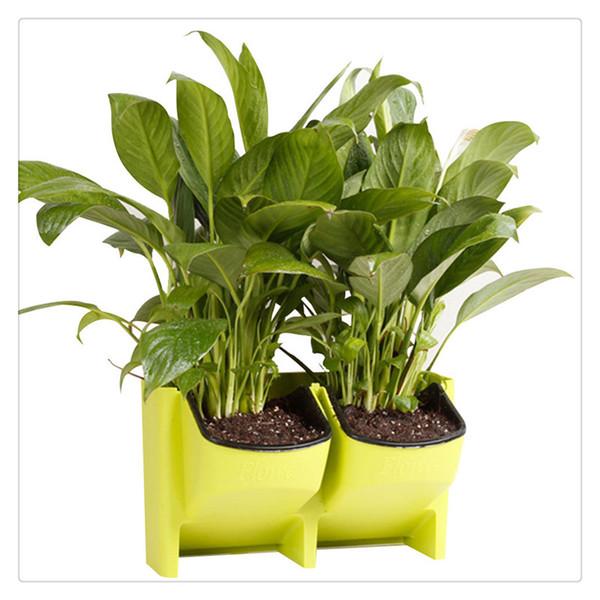 Jardinera de pared vertical apilable de 2 bolsillos Jardinera colgante de jardín con riego automático Jardinera para interiores y exteriores