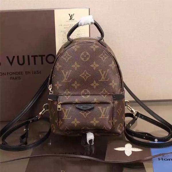 leatherLouis Vuitton baskı İYİ Moda Palm Springs Sırt Çantası louis Mini hakiki deri çocuk sırt çantası kadın