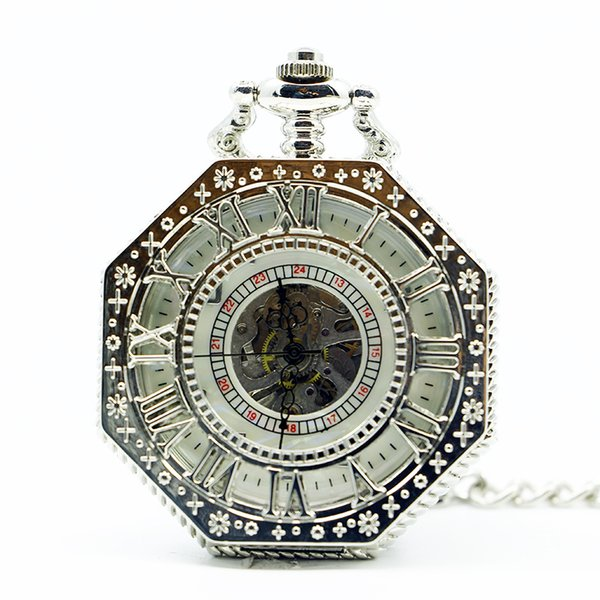 Octagon Silver Mechanical Pocket Watches Men Women Arabic Numbers Hand Winding Hollow Pendant Clock Fob Chain Gift PJX1271