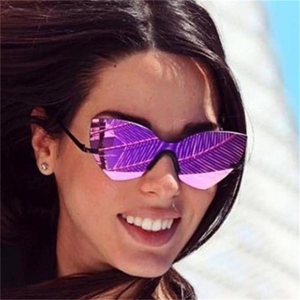 Boy ayna çerçevesiz güneş kadınlar kelebek shades 2017 şık marka Düzensiz güneş gözlükleri erkekler lunettes Femme gözlük