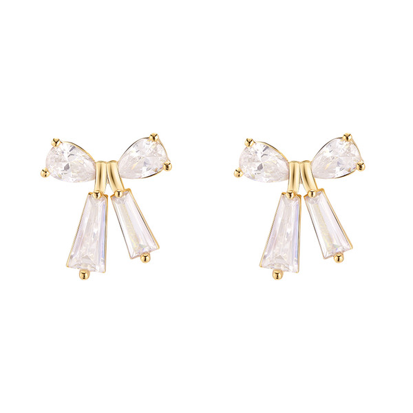 Korean Girls'First Love Butterfly Knot Ear Nails Sweet and Simple Baitao Small Fresh Zircon Earrings E651