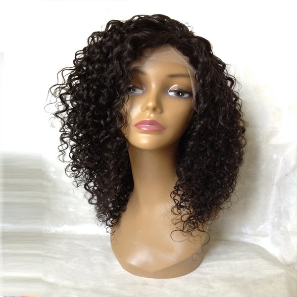 Top quality kinky curly Brazilian virgin human hair full lace wigs for black women glueless lace front wigs with natural hairline