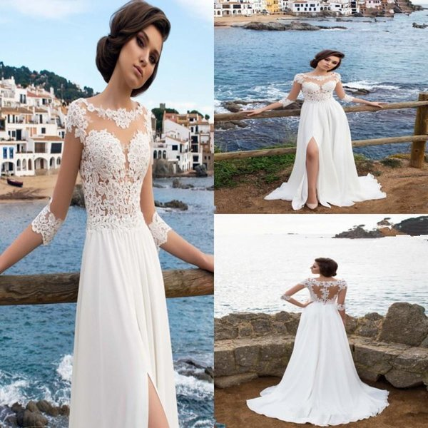 2018 New Chiffon Sheer Jewel Neck A-Line Wedding Dresses Illusion Long Sleeves Thigh-High Slits Summer Beach Bridal Gowns Formal Dresses