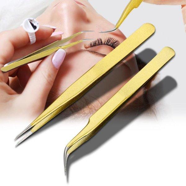 best selling Eyelash Tweezers For Eyelash Extension Professional Stainless Steel Tweezers Fake Tweezers Makeup Tools
