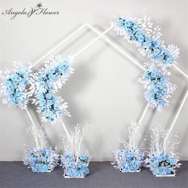 1 m matrimonio piuma disposizione dei fiori fila T palcoscenico arco arredamento strada piombo flores artificiales vetrina del fiore display