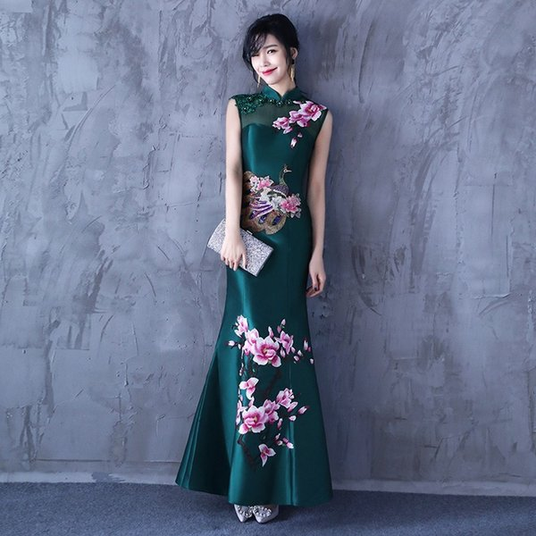 Fashion Mermaid Long Cheongsam China Evening Dresses Orientale Elegant Slim Gown Qi Pao Women Chinese Traditional Dress Qipao