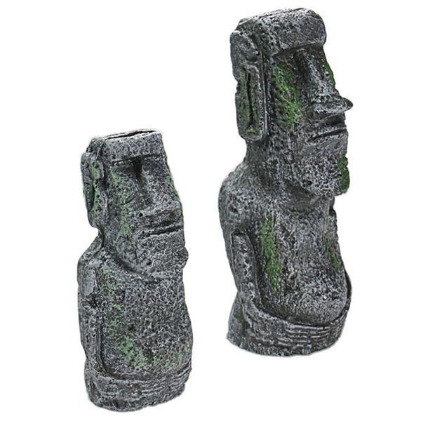 best selling Resin Artificial Aquarium Easter Island Statue Ornament Underwater Landscaping Craft Ornaments Fish Tank Decoration Accessories JK2002