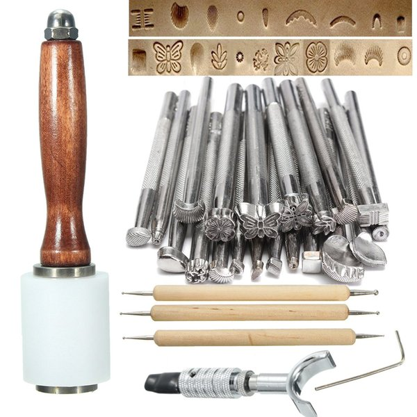 New 25Pcs/Set Manual Leather Craft Stamping Carved Wooden Hammer Embossing Tools Kit SF66