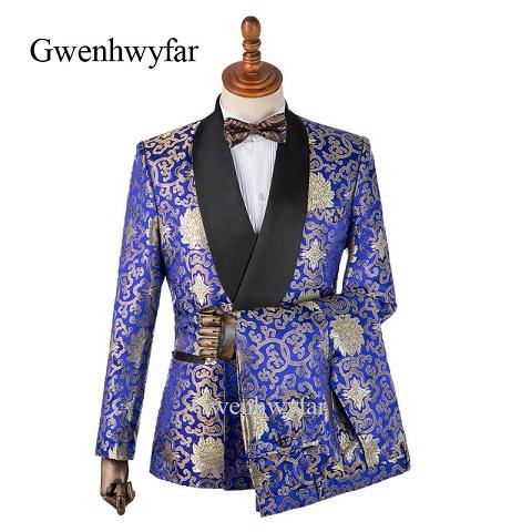 new Design Colorful Flower Brocade Tuxedos For Men Fashion Shawl Lapel Men Party Prom Suits Blazer Pants Groom Tuxedos(Jacket+Pant+Bowtie)