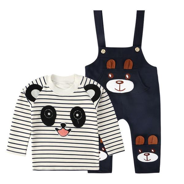 good quality Cartoon Cute Infant Baby Boys Clothes Set Panda Striped T-shirt+Belt Pants Long Sleeve Tracksuit Baby boy Clothing Set