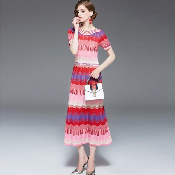 Abiti pista delle donne Slash Scollo maniche corte a righe arcobaleni di colore a blocchi di moda maglia Abiti media