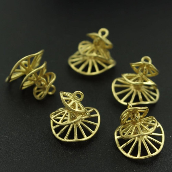 Filigree Flower Connectors Connect Charms Earrings & Pendants Supplies Raw Brass Metal Findings DIY Jewelry Making
