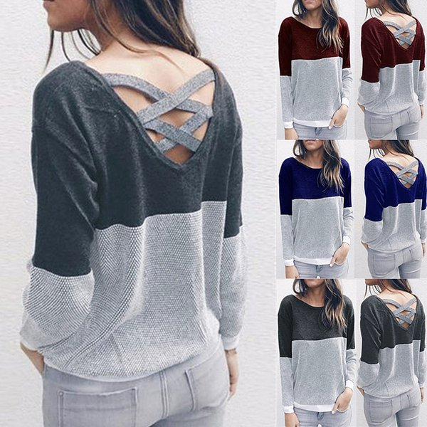 Female Reversible Hollow Out Knitted Sweater Pullover Backless Long Sleeve Two Side Wear Autumn Winter Plus Size Jumper