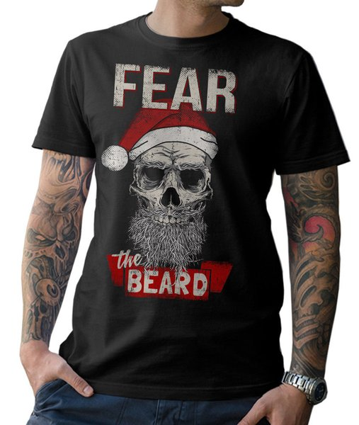 Fear The Beard Santa Skull Christmas Swimer Er Santa Santa Full Beard