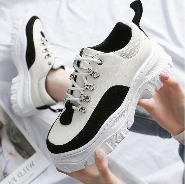 2019 Automne Nouvelle Plateforme De Mode Baskets Printemps Dames Causal Chaussures Femme En Cuir Léger Respirant Femmes Baskets T2477