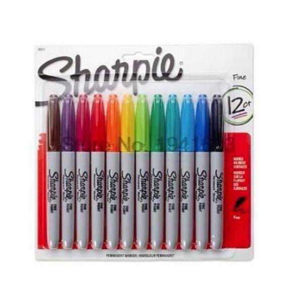 top popular 12Pcs  Lot 12Colors American Sanford Sharpie Permanent Markers Eco -Friendly Marker Pen Sharpie Fine Point Permanent Marker Hot 2021