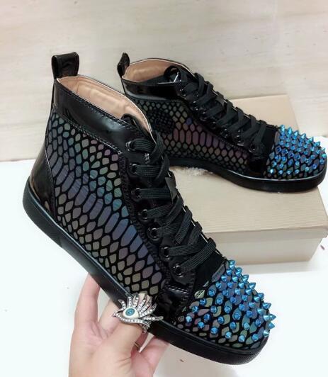 Кожаная мужская повседневная обувь New Gradient Blue с рисунком из змеиной кожи шипованная мужская повседневная обувь для пар