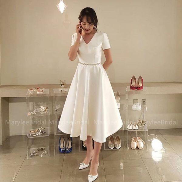 Vintage tea-lunghezza abito da sposa maniche corte con scollo a V Corea del vestito da sposa corto abito mariage Diamanti Cintura vestido de casamento