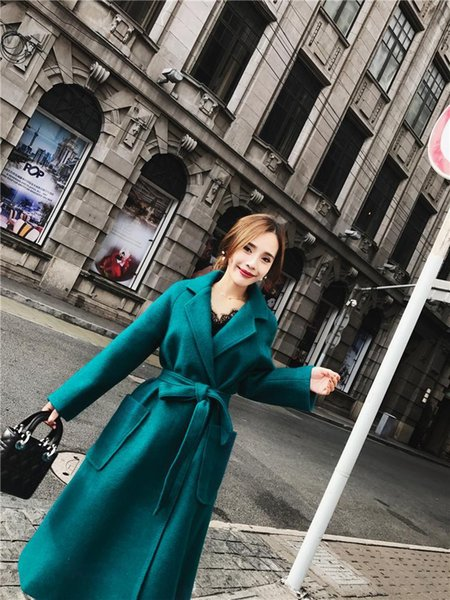 Fashion Office Lady Long Woolen Winter Coats Belt Slim Solid Wool Coat and Jacket Turn-down Collar Ladies Coats