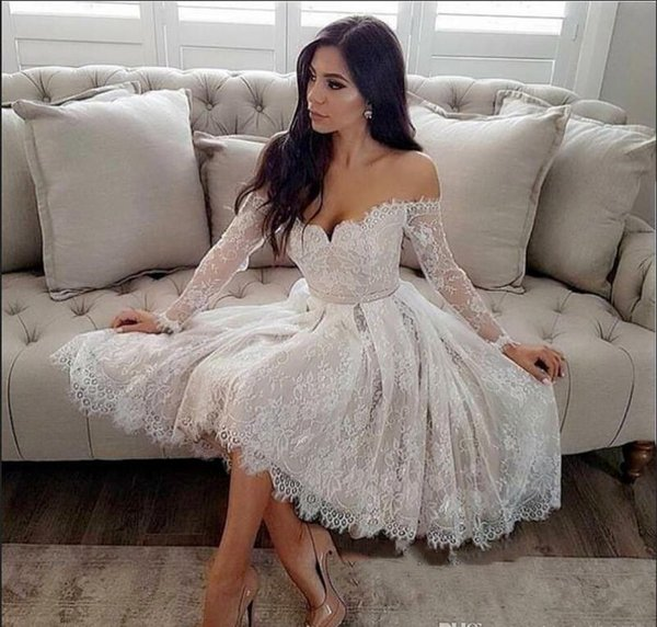 Long Sleeve Off The Shoulder Prom Dresses Lace Short Prom Dress Cheap Formal Evening Gowns Cocktail Party Homecoming Gown Prom Dress Stores In Ohio