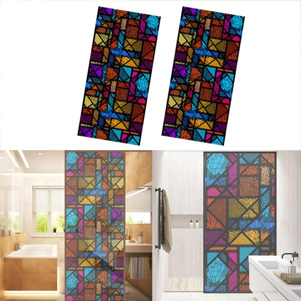top popular 2 Pieces Per pack Door Wall Window Film Sticker Static Cling Stained Window Film 120*58cm 2021