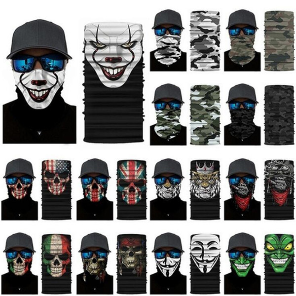 top popular High quality outdoor cycling scarf magic bandana Skeleton Face Mask Joker flag sport headband for Ski Motorcycle Cycling Fishing 2021