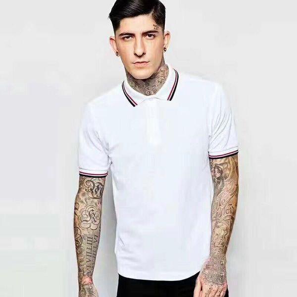 Polo London Perry 2020 Nuevo algodón Ocio Manga corta Verano fred Polos sólidos Moda masculina Solapa Inglaterra Ropa Blanco Negro